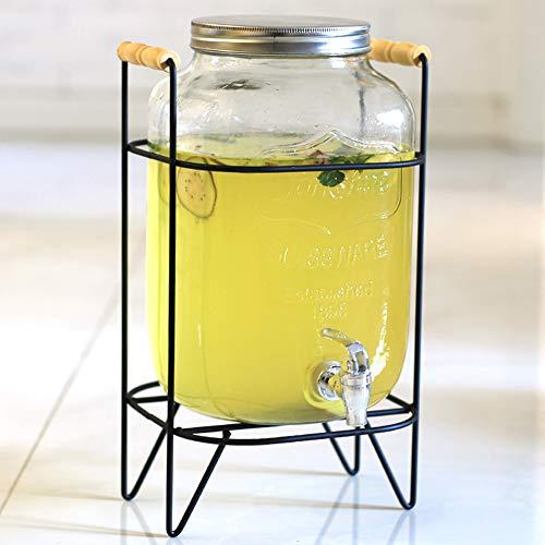 QQRH Wasserspender Glas Getränkespender aus Glas Drinks Dispenser mit Zapfhahn Limonadenspender Wasserspender mit Hahn inklusive Gestell aus Metall