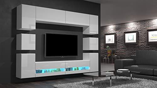 Home Direct Heidi N36 Weiß Modernes Wohnzimmer Wohnwand Wohnschrank Schrankwand Möbel Mediawand (AN36-18HG-W2 1A ohne Füße, Möbel ohne Led)