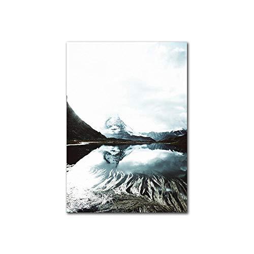 Cuadro sobre Lienzo Decoración del Hogar Arte De La Pared Lago Mo Tain Paisaje Lienzo Pintura Naturaleza Carteles E Impresiones Cuadros De Pared para Sala De Estar