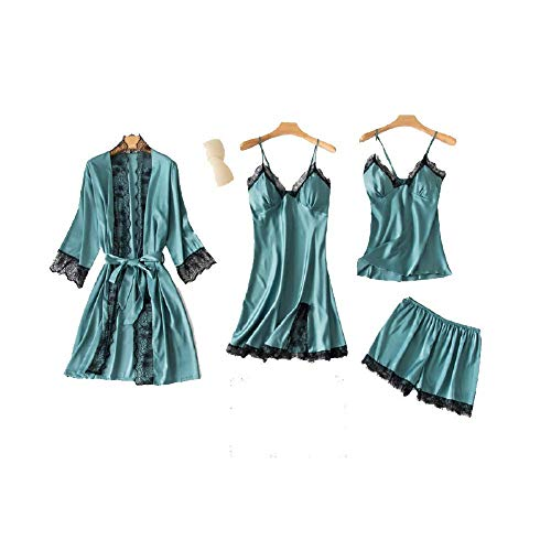 4 piezas de pijama de seda para mujer conjuntos de camisón sexy de satén camisón de dormir bata bata de cuello en V de encaje pijama