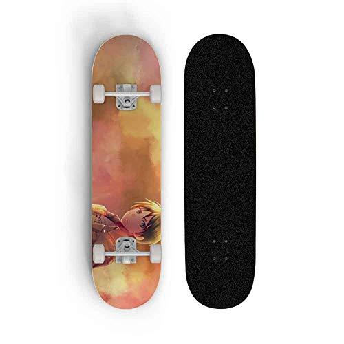 Kssmice Skateboard Anime Ataque de patineta de cuatro ruedas en Titán: Eren Jäger, Maple Doble Tilt Skateboard Skateboard Professional Monopatín Hombre y femenino Tablero de baile Scooter de cepillado