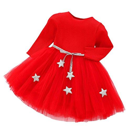 K-youth Vestidos Bebe Nia, Recin Beb Nias Tut Princesa Vestido Pentagram Bautizo Beb Nias Vestidos de Manga Larga Otoo Invierno Ropa para 0-24 Meses (Rojo, 18-24 Meses)