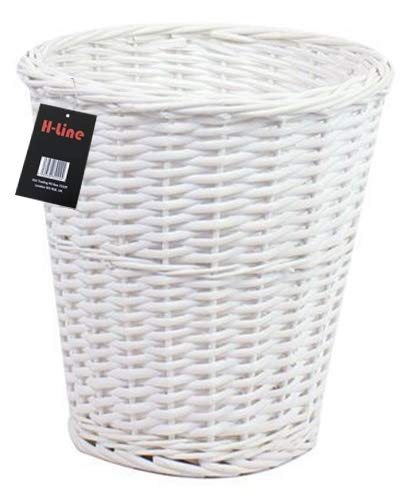 Wicker Willow Round Basket Storage Waste Paper Rubbish Bin Country Style Bathroom Bedroom Office (White)