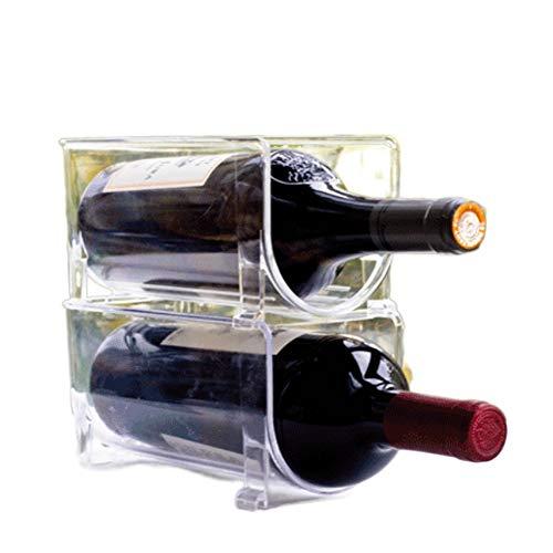 ZGHBZZY Juego de 2 botelleros de diseño transparente para botellas de vino, moderna bodega que extiende la vida del vino y el corcho, estantes apilables para armario, despensa, mesa
