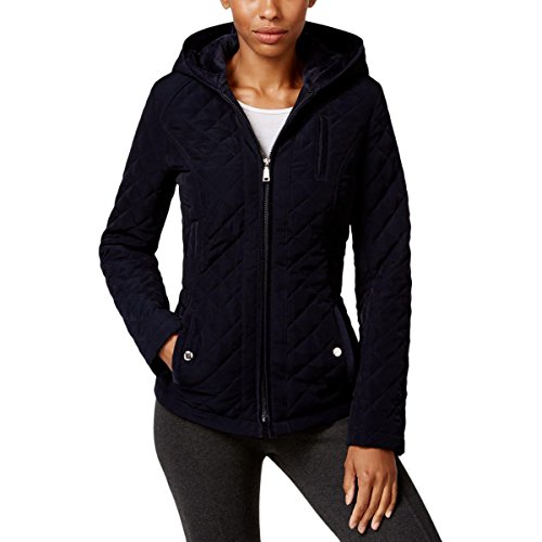 Laundry by Design Womens Petites Faux Fur Quilted Puffer Coat Navy PM