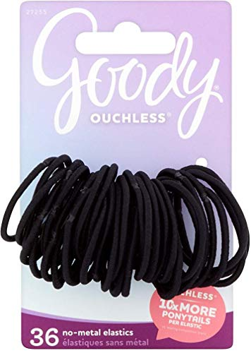 Goody 27255 Ouchless 36 Gentle Braided Elastic Hair Bands, Made with the New Inches Smart Stretch Core Inches, 2mm No-metal Black Elastics, Great for Pulling your Hair Up Any Time of Day