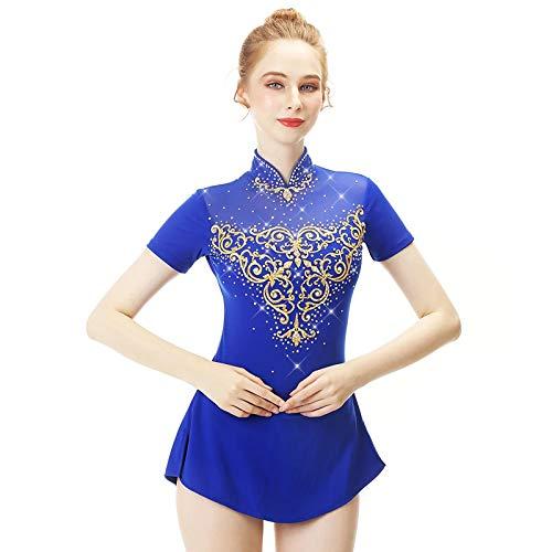 Vestido de patinaje artstico para nia clsico de la competencia, Azul, XL