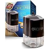 OfficePro 電動鉛筆 - 適用於學校和教室,螺旋鋼刀片削筆 包括顏色、自動停止功能、超便攜 - 含電池