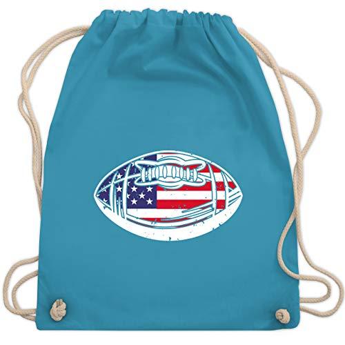 American Football - Football mit amerikanischer Flagge - Unisize - Hellblau - Sport - WM110 - Turnbeutel und Stoffbeutel aus Baumwolle