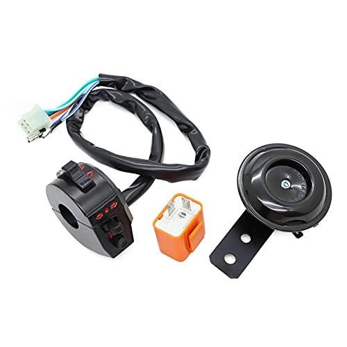 MNWYMCMFInterruptor de Manillar de Motocicleta, luz Universal, señal de Giro, Interruptor de Faro, Conjunto de bocina de relé Intermitente,