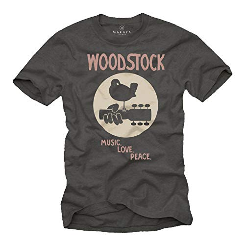 MAKAYA Camiseta Festival Musica Hombre - Woodstock Hippie T-Shirt Estilo 60s 70s Regalo Padre Talla Grande Gris M