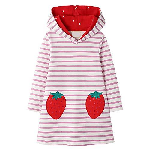 VIKITA Mädchen Sweatshirt Langarm Top Baumwolle Langarmshirt Herbst Winter Freizeit Erdbeere 3-4 Jahre