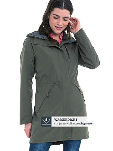 Schöffel Damen Parka Malmö1 wasserdichte Regenjacke für Frauen mit praktischen Taschen, modische und leichte Jacke für Frühling und Sommer, grün (sea turtle), M/38