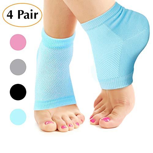 CareforYou Feuchtigkeitsspendende Socken, Lotion-Gel für trockene, rissige Fersen, 4er-Pack, Spa-Gel-Socken, Feuchtigkeitsspender, Fersenbalsam, Fußpflege, Fersenweichmacher, Kompressions-Baumwolle