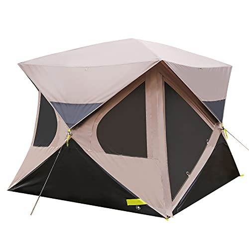 Pop up Tent 4 Person for Camping, 80'' Center Height, Instant Hub Tent with Mesh Windows, Rainproof Family Tent with Rainfly, 58''L Carrybag