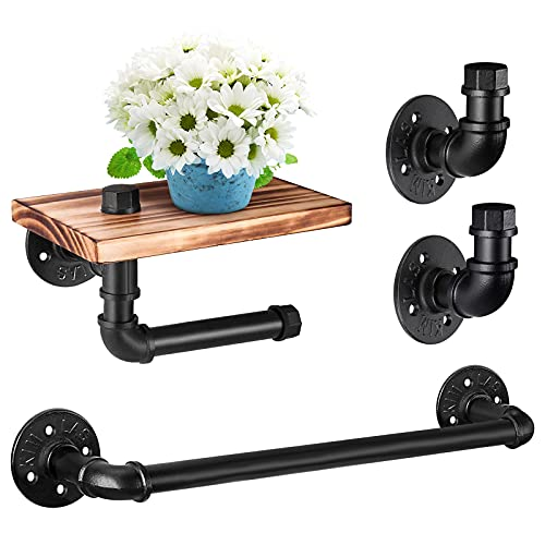 HQISTAR Bathroom Hardware Fixture Set,4-Piece Rustic Style Bathroom Accessories Kit Wall Mounted Includes Two Robe Hook,Toilet Paper Holder with Wooden Shelf ,18 ''Towel Bar for Bathroom,Matte Black