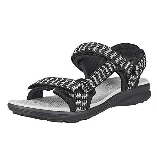 GRITION Sandali da Trekking Sandali da Trekking Aperti da Donna Estivi, Velcro Regolabile, Scarpe Basse Sportive Leggere, Sandali con Cinturino, multidirezionale 38EU