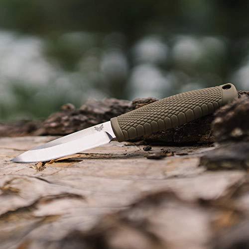 Benchmade - 200 Puukko Knife, Drop-Point Blade, Plain Edge, Ranger Green Santoprene Handle