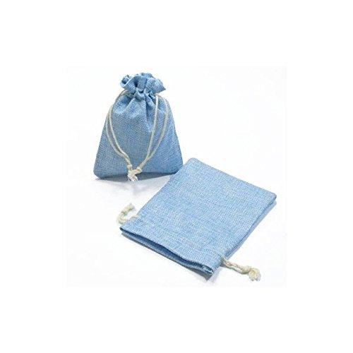Lot de 10 bourses en jute de couleur bleu ciel 12x15cm - 5297