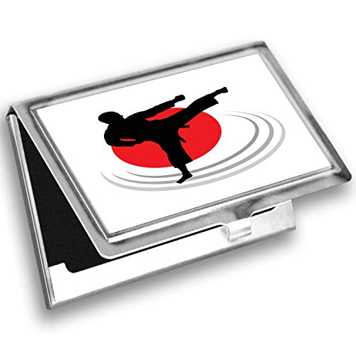 Ambesonne Kung Fu Card Holder, Man Karate Kick Silhouette, Metal Card Wallet