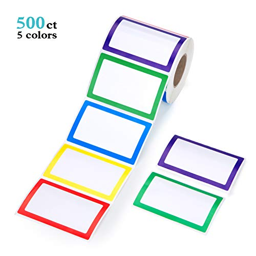 Mionno 5 Colors Adhesive Name Tag Labels, 500pc 3.5' x2.25' Plain Name Tag Stickers/Category Tags for Office, Meeting, Kindergarten, School, Teachers, Parties, Warehouses and Mailing