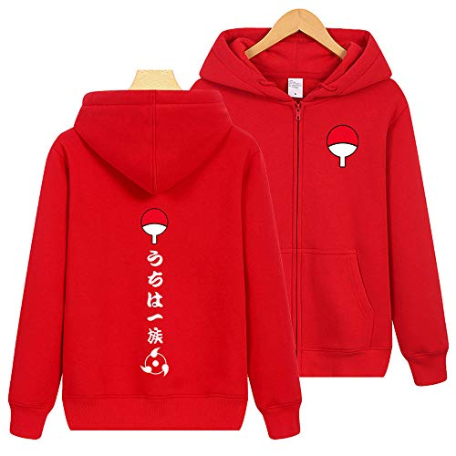 wywyet Pullover Anime Coat Long Sleeve Parent-Child Zip Outerwear with Hood Jacket Wear Unisex Naruto S