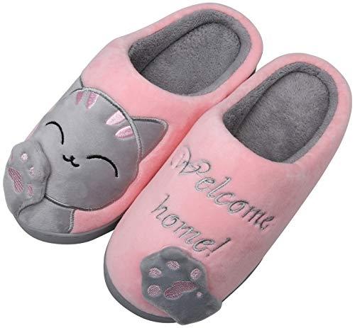 Mishansha Zapatillas de Estar por Casa Mujer Invierno Zapatillas de Interior Calientes Dibujos Animados Gato Dormitorio Zapatos de Piso, Cat-Rosa, 39/40 EU=40/41 CN