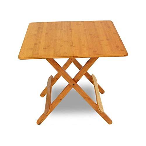 AOIWE Mesa plegable, mesa plegable de bambú, mesa de comedor simple, mesa cuadrada portátil al aire libre