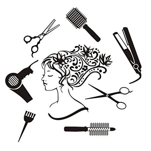 Garneck Kapperssticker, voor meisjes, afneembaar, kappersgereedschap, zelfklevend, wandkam, decoratief, schaar, ijzer, behang, schoonheidssalon, wand, raam, decoratie (zwart)