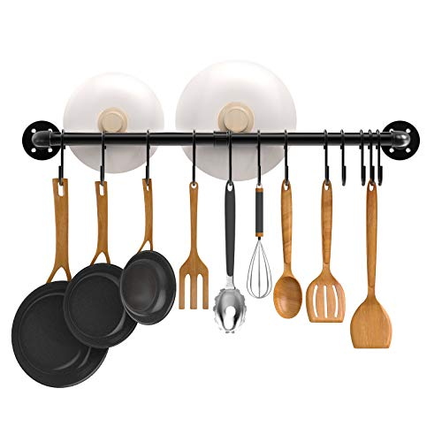 Nuovoware 33.5 Inch Kitchen Pipe Pot Rack with 15 Detachable S Hooks, Utensil Holder Pots Pans Hanging Organizer Wall Mounted, Coffee Mug Rack, Cup Hanger, Kitchen S Hooks for Utensils, Black