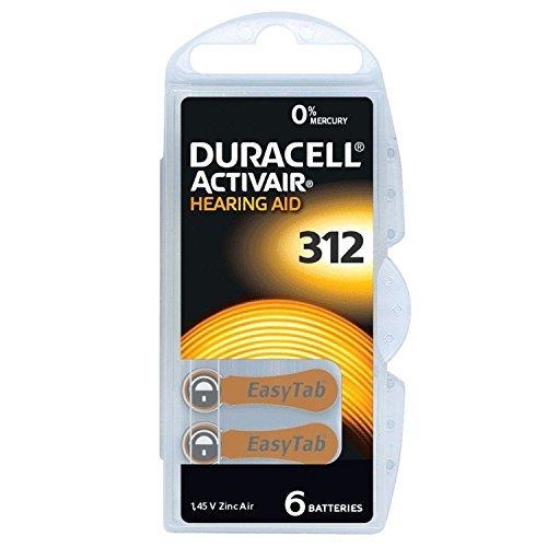 6X 1,45V Duracell 312 Activair Hearing Aid Zinc Air Blister Hörgeräte Batterien