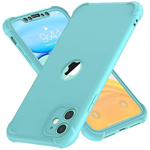 ORETECH Funda Compatible con iPhone 11, con 2 x Protector de Pantalla de Vidrio Cristal Templado Carcasa para iPhone 11 Silicona Ligera Delgado PC TPU Bumper Rubber Caso para iPhone 11 Verde 6.1
