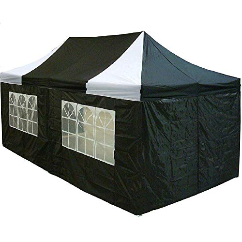 10'x20' Pop up 6 Walls Canopy Party Tent Gazebo Ez Black White - F Model Upgraded Frame by DELTA Canopies