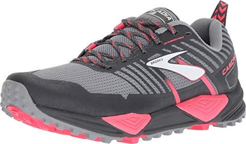 Brooks Women's Cascadia 13, Trail Running Shoes, Grey/Grey/Pink, 7.5 B US