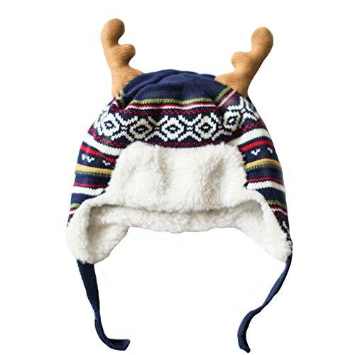 Genda 2Archer Bambini Natale Renna Orecchie knit Bombardiere Cappello Sherpa foderato