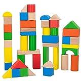 WOOMAX - Juego de construcción madera, Bloques madera, Bloques de madera para niños, 100 piezas, +18 meses, Madera 100% sostenible y biodegradable (40993)