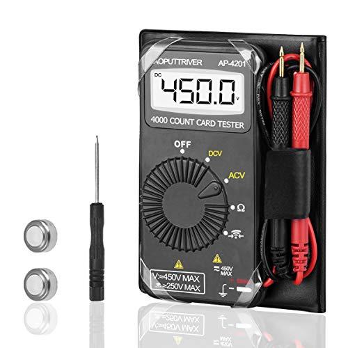 Mini Multimetro Automático AP-4201 4000 Cuenta Mini Multímetro de Bolsillo Mini Bolsillo Digital Voltímetro Medir Voltaje CA/CC+Resistencia+Prueba de Diodos+Zumbador de Continuidad con Apagado Auto