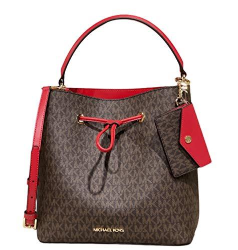 Michael Kors Suri Large Bucket Drawstring Bag Brown MK Flame Red BUNDLED with Matching Kala Card Holder