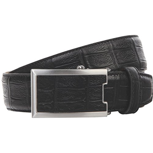 Lindenmann klassik G.CHABROLLE Mens Leather Belt/Mens Belt, full grain leather belt autolock buckle, black, Größe/Size:100, Farbe/Color:noir