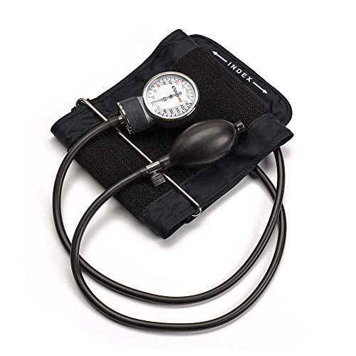 PARAMED Aneroid Sphygmomanometer – Manual Blood Pressure Cuff with Universal Cuff 8.7 - 16.5' and D-Ring – Carrying Case in The kit – Black – Stethoscope Not Included