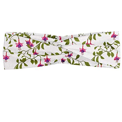 ABAKUHAUS Floral Bandeau, Motif vintage avec Fuchsia fleurs et feuillage Printemps Blossoming, Serre-tête Féminin Élastique et Doux pour Sport et pour Usage Quotidien, Vert Olive Rose