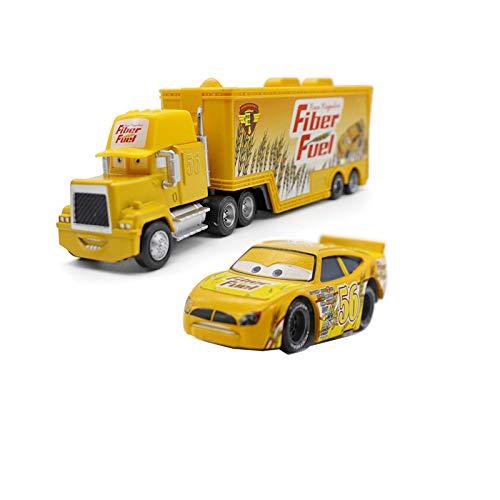 Pixar Cars Lightning McQueen The King Chick Hicks Jackson Storm Mack Trucks Hauler & Racer Metal 1:55 Loose Boy Toy Cars (NO. 56 Fiber Fuel Hauler Truck and Racer)