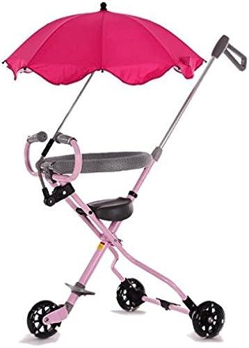 Kinder-Dreirad-Artefakt-faltendes Licht-tragbares Puppen-Reise-Artifakt-Baby-Spaßierg er GAOLILI (Farbe   Rosa)