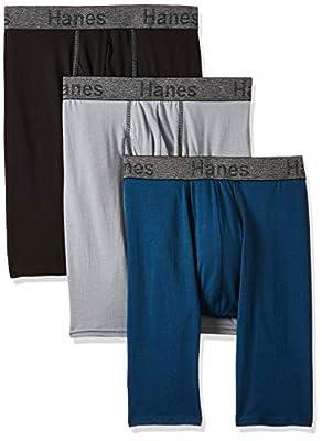 Hanes Men's 3-Pack Comfort Flex Fit Ultra Soft Stretch Boxer Brief, Regular Available, Long Leg Assorted - 3 Pack, Medium