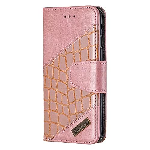 Funda para iPhone 13 mini, a prueba de golpes, piel de cocodrilo, cierre magnético, diseño de libro, con ranuras para tarjetas, función atril para iPhone 13 mini, color rosa