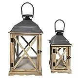 2 Lanterne da esterno in legno, metallo e vetro