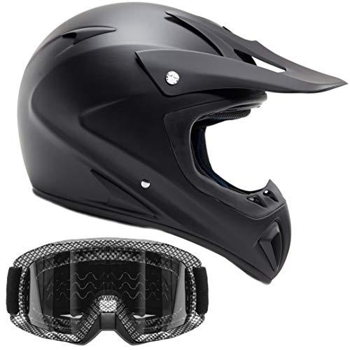Typhoon Adult ATV Helmet & Goggles Gear Combo, Black w/Carbon Fiber (Medium)