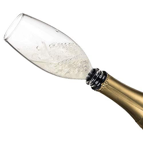 KOSxBO® Flaschenaufsatz aus Hochwertigen Glas mit Silikondichtung ideal als Sektglas-Aufsatz für Party - Mädelsabend