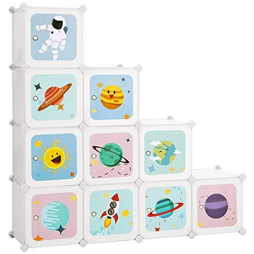 SONGMICS Estantería Modular Infantil de 10 Cubos, Organizador para Niños, Estantería de Plástico, Armario Modular con Puertas para Ropa, Zapatos, Juguetes, 123 x 31 x 123 cm, Blanco LPC903W01