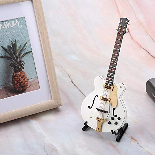 Guitarra en Miniatura, réplica de Guitarra eléctrica en Miniatura Blanca de 5.5 pulg. con Caja, Modelo de Ornamento